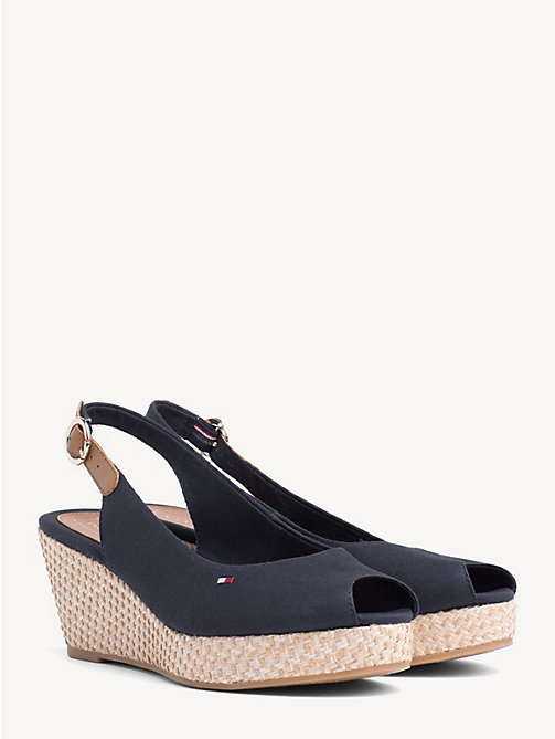 TOMMY HILFIGER Slingback Wedge Heel Sandals - MIDNIGHT - TOMMY HILFIGER Wedges - main image