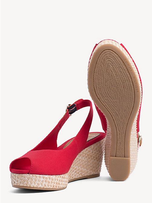 TOMMY HILFIGER Slingback Wedge Heel Sandals - TANGO RED - TOMMY HILFIGER Wedges - detail image 1