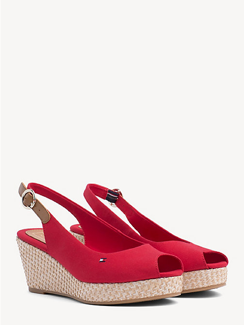 TOMMY HILFIGER Slingback Wedge Heel Sandals - TANGO RED - TOMMY HILFIGER Wedges - main image
