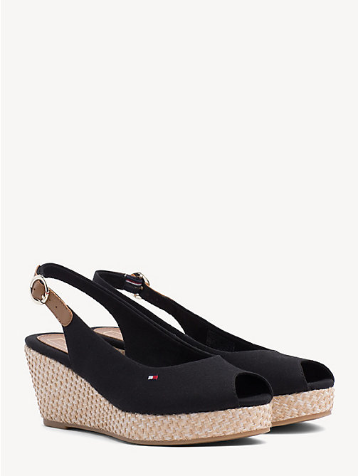 TOMMY HILFIGER Slingback Wedge Heel Sandals - BLACK - TOMMY HILFIGER Wedges - main image