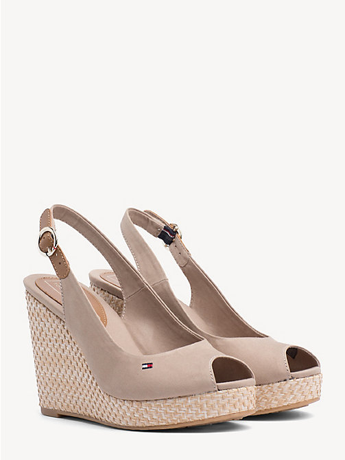 TOMMY HILFIGER High Wedge Heel Slingback Sandals - COBBLESTONE - TOMMY HILFIGER Wedges - main image