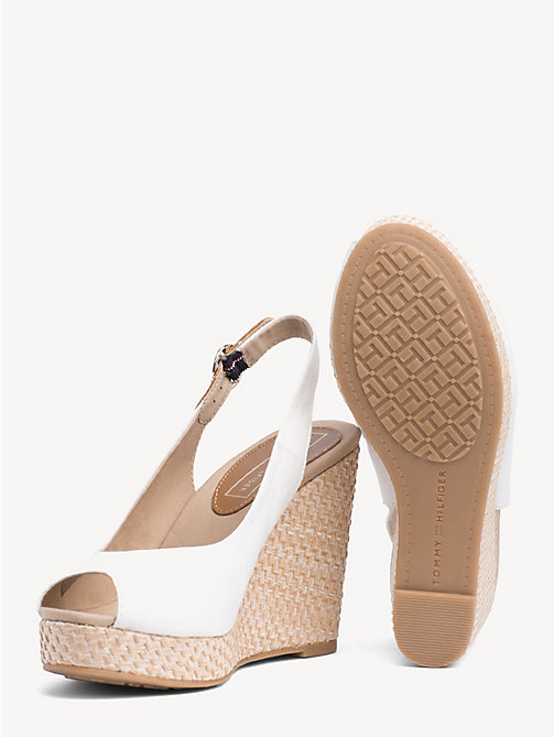TOMMY HILFIGER High Wedge Heel Slingback Sandals - WHISPER WHITE - TOMMY HILFIGER Wedges - detail image 1