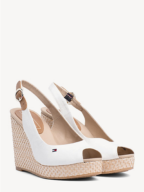 TOMMY HILFIGER High Wedge Heel Slingback Sandals - WHISPER WHITE - TOMMY HILFIGER Wedges - main image