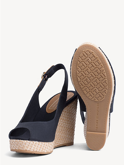 TOMMY HILFIGER High Wedge Heel Slingback Sandals - MIDNIGHT - TOMMY HILFIGER Wedges - detail image 1