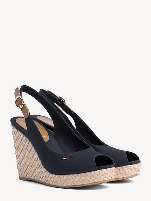 TOMMY HILFIGER High Wedge Heel Slingback Sandals - MIDNIGHT - TOMMY HILFIGER Wedges - main image