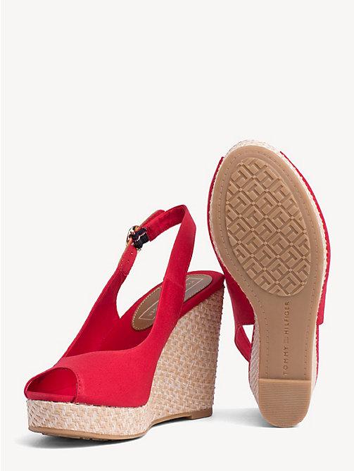 debb2cc7ca9 TOMMY HILFIGERHigh Wedge Heel Slingback Sandals. £70.00. TANGO RED. x