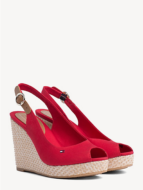 TOMMY HILFIGER High Wedge Heel Slingback Sandals - TANGO RED - TOMMY HILFIGER Wedges - main image