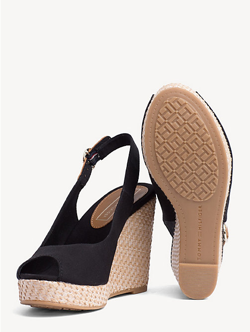 TOMMY HILFIGER High Wedge Heel Slingback Sandals - BLACK - TOMMY HILFIGER Wedges - detail image 1