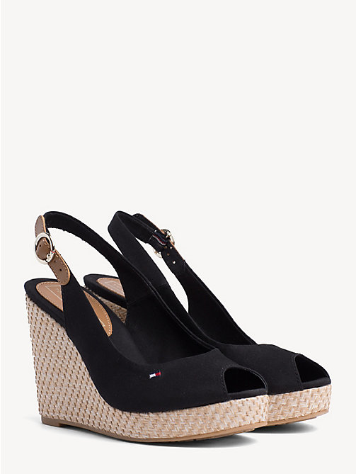 TOMMY HILFIGER High Wedge Heel Slingback Sandals - BLACK - TOMMY HILFIGER Wedges - main image