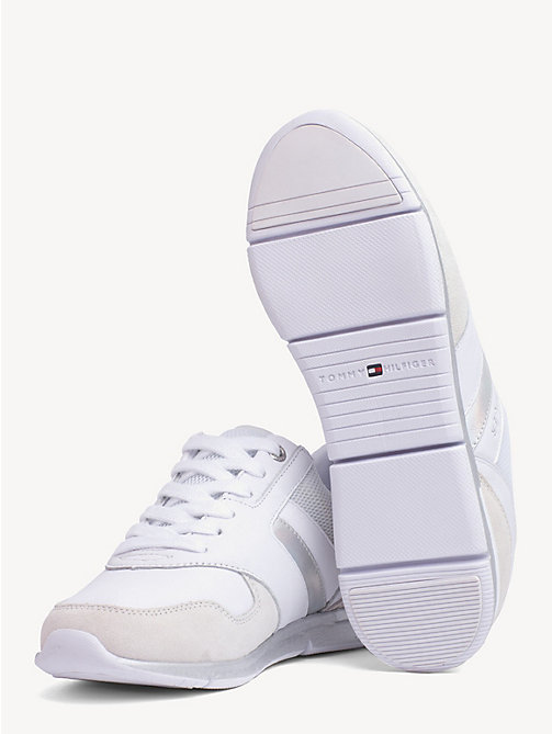 TOMMY HILFIGER Lightweight Essential Iridescent Trainers - WHITE - SILVER - TOMMY HILFIGER Trainers - detail image 1