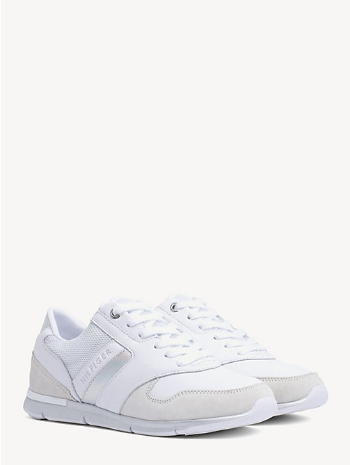 TOMMY HILFIGER Lightweight Essential Iridescent Trainers - WHITE - SILVER - TOMMY HILFIGER Trainers - main image