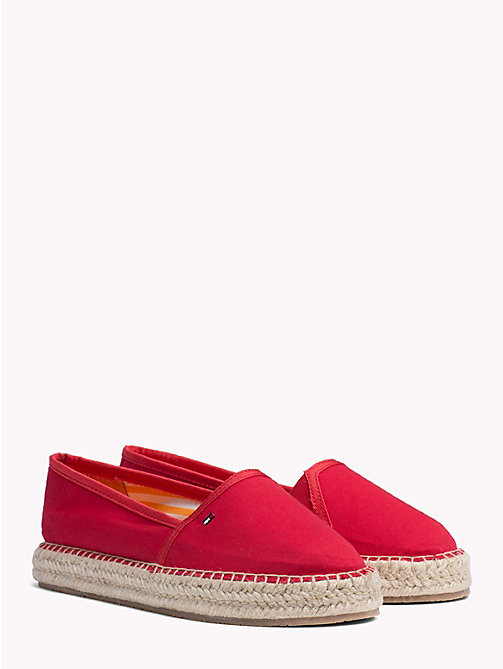 TOMMY HILFIGER Flat Cotton Espadrilles - TANGO RED - TOMMY HILFIGER NEW IN - main image
