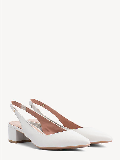 TOMMY HILFIGER Leather Block Heel Pumps - WHISPER WHITE - TOMMY HILFIGER Pumps - main image