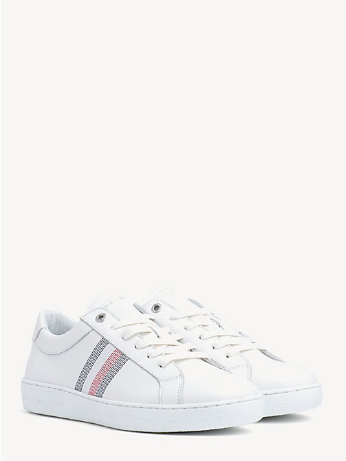 7eda89d5bc373 white signature leather trainers for women tommy hilfiger