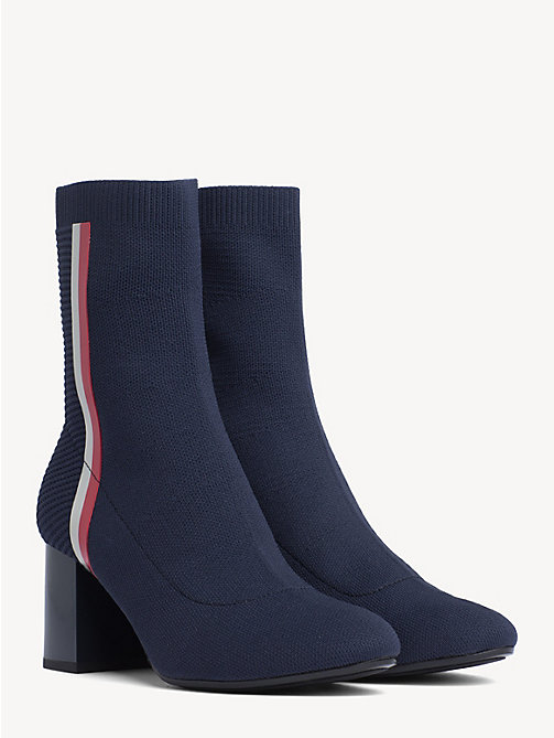f67a2b9b0418 blue knit stripe block heel boots for women tommy hilfiger