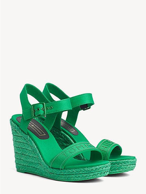 681203f59e2 sandalias de cuña con logo green de mujer tommy hilfiger