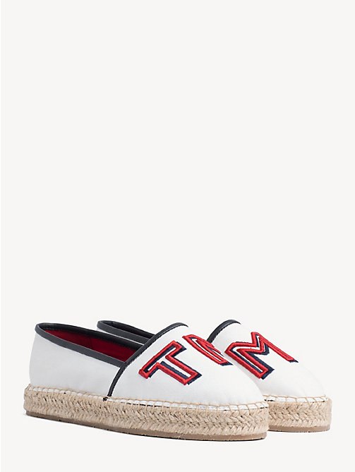 cb19074c71d50e white logo embroidered espadrilles for women tommy hilfiger