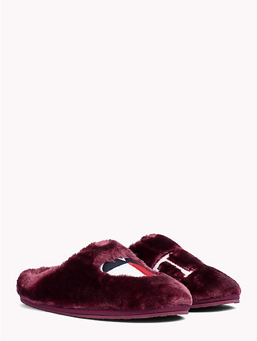 TOMMY HILFIGER Heart Flag Star Print Slippers - DECADENT CHOCOLATE - TOMMY HILFIGER Slippers - main image