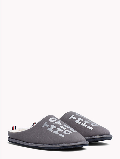 TOMMY HILFIGER Metallic Print Cotton Slippers - DARK GREY - TOMMY HILFIGER Shoes - main image