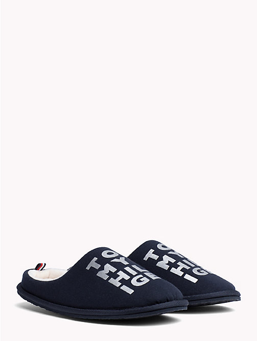 TOMMY HILFIGER Metallic Print Cotton Slippers - MIDNIGHT - TOMMY HILFIGER Shoes - main image