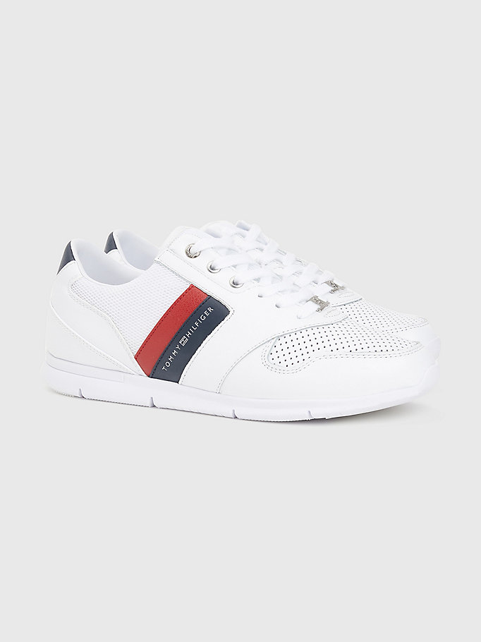 red lightweight perforated leather trainers for women tommy hilfiger