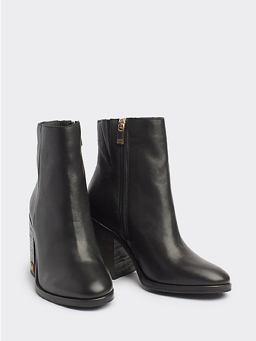 343e99fbbc5f8 black hardware detail leather boots for women tommy hilfiger
