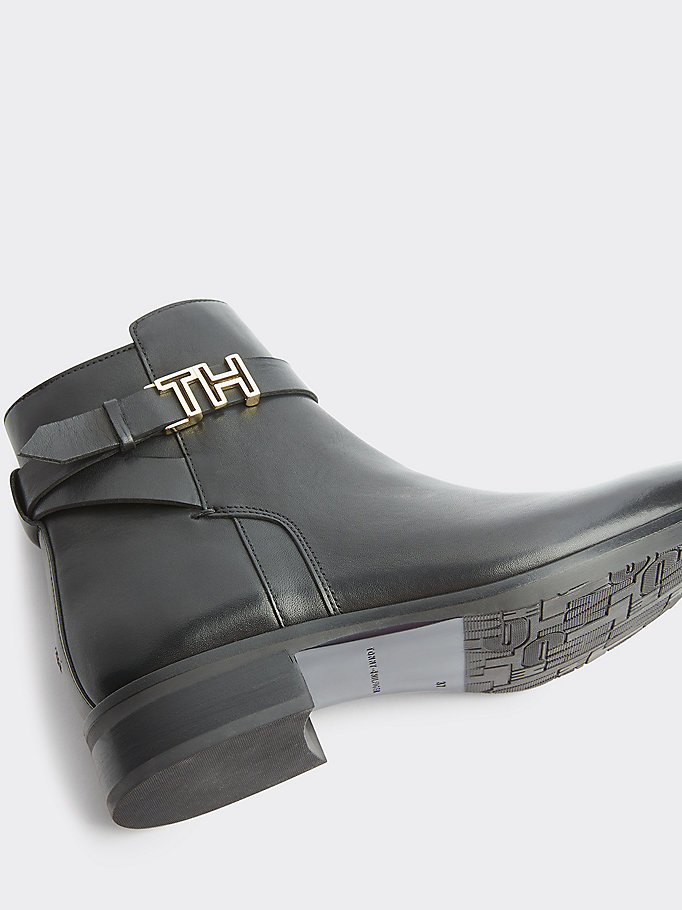 2019 Tommy Hilfiger Herren Ankle Boots Aus Leder Schwarz Sale
