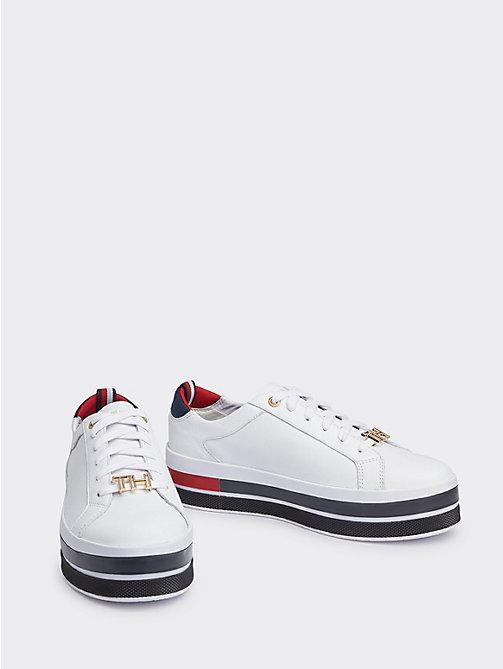 c136d35d15821 white flatform-sneaker mit metall-highlights für damen - tommy hilfiger
