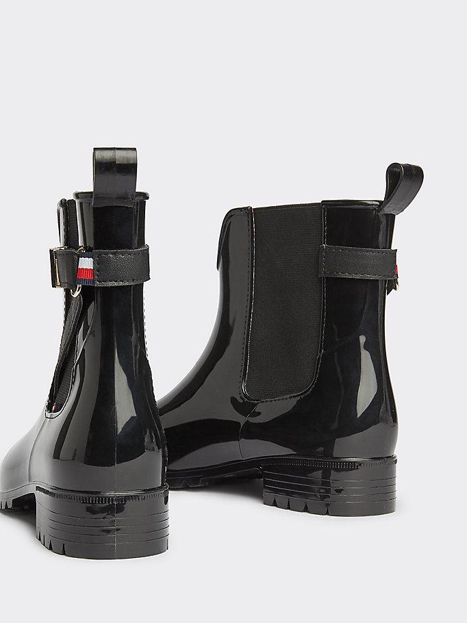 heiß-verkaufendes echtes gehobene Qualität Details für Chelsea Ankle Rain Boots | BLACK | Tommy Hilfiger