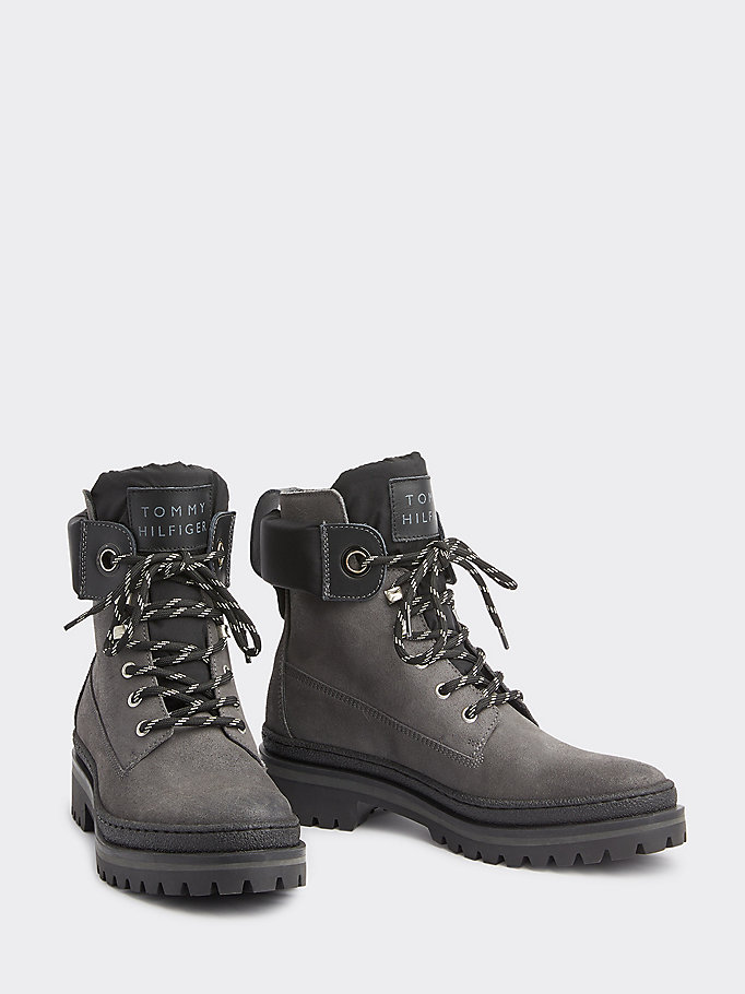 Outdoor Style Lace Up Suede Boots | GREY | Tommy Hilfiger