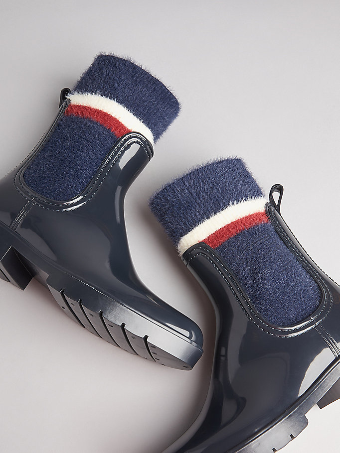 detaillierte Bilder am besten kaufen kinder Kurzer Sock-Regenstiefel   BLAU   Tommy Hilfiger