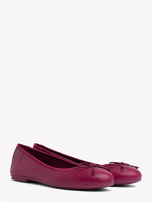 ca715c280d0650 purple leather ballerina pumps for women tommy hilfiger