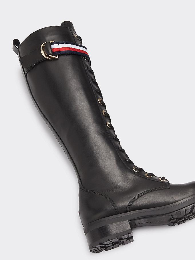 best sneakers aeeee b9495 Hoher Biker-Lederstiefel | SCHWARZ | Tommy Hilfiger