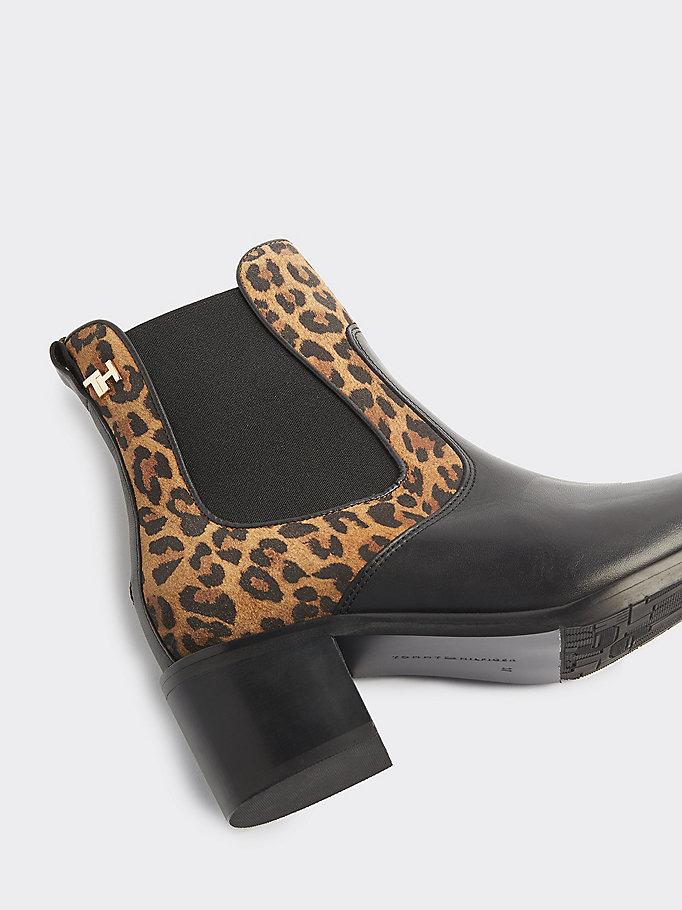 cheap for discount c435f ebf59 Leopard Print Block Heel Chelsea Boots | BLACK | Tommy Hilfiger