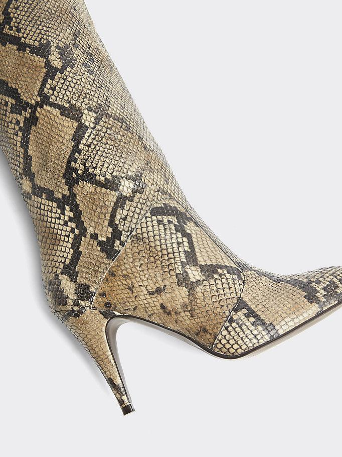 Stivali Zendaya con tacco e motivo pitonato | MARRONE