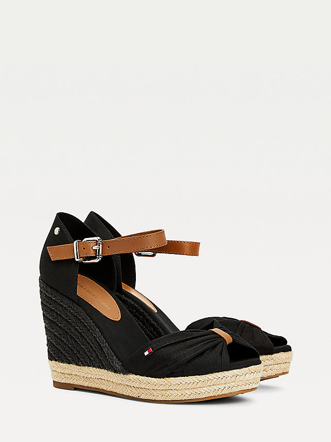 black essential colour-blocked wedge sandals for women tommy hilfiger