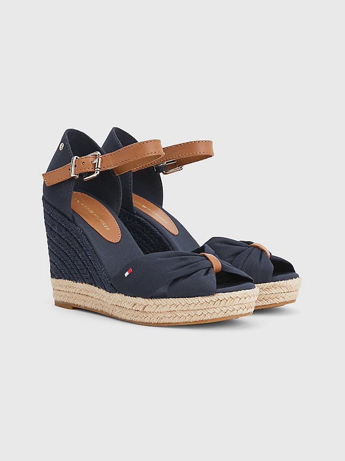 blue essential colour-blocked wedge sandals for women tommy hilfiger