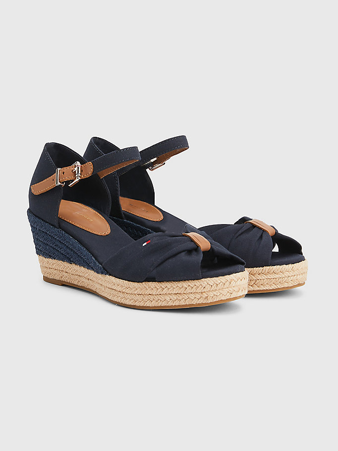 blue essential wedge sandals for women tommy hilfiger