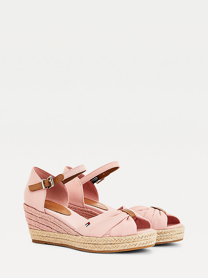 pink essential wedge sandals for women tommy hilfiger