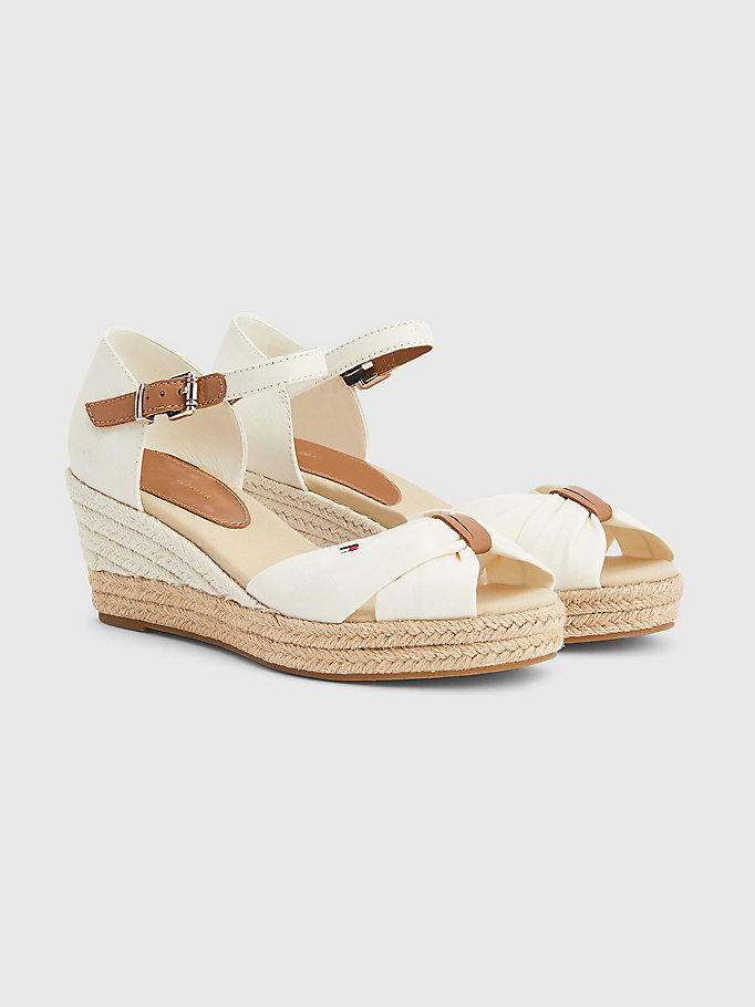 white essential wedge sandals for women tommy hilfiger