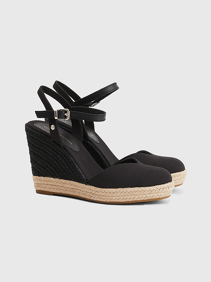 black essential closed toe wedge sandals for women tommy hilfiger