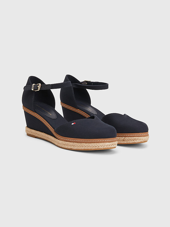blue essential medium wedge sandals for women tommy hilfiger