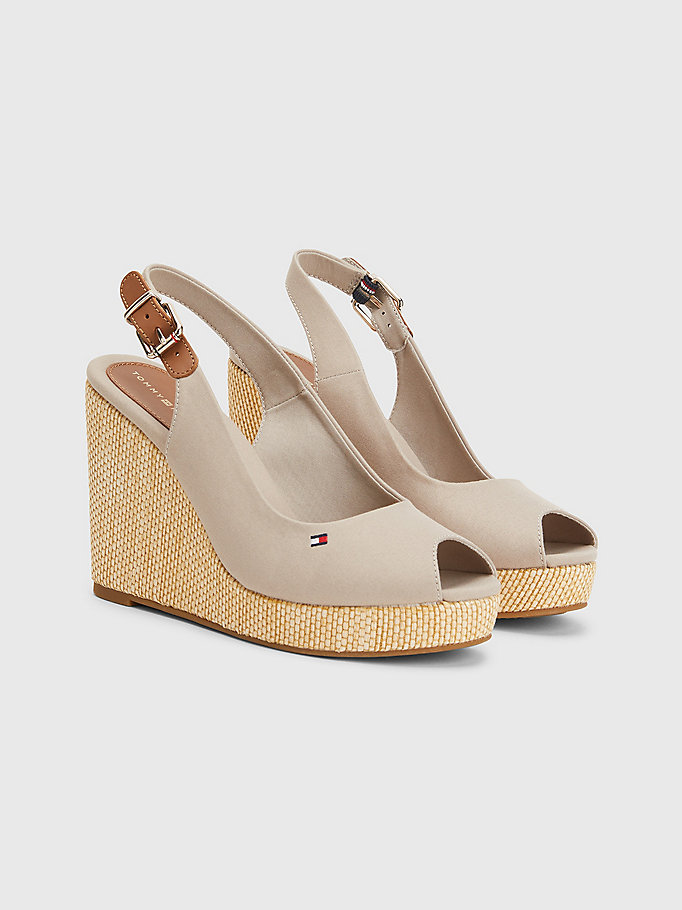 beige iconic high wedge slingback sandals for women tommy hilfiger