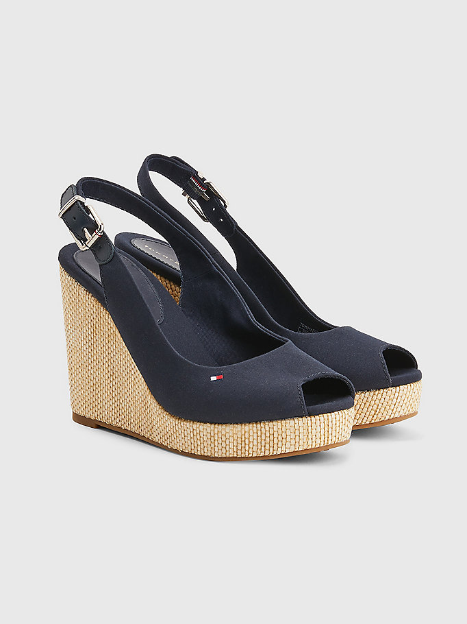 blue iconic high wedge slingback sandals for women tommy hilfiger