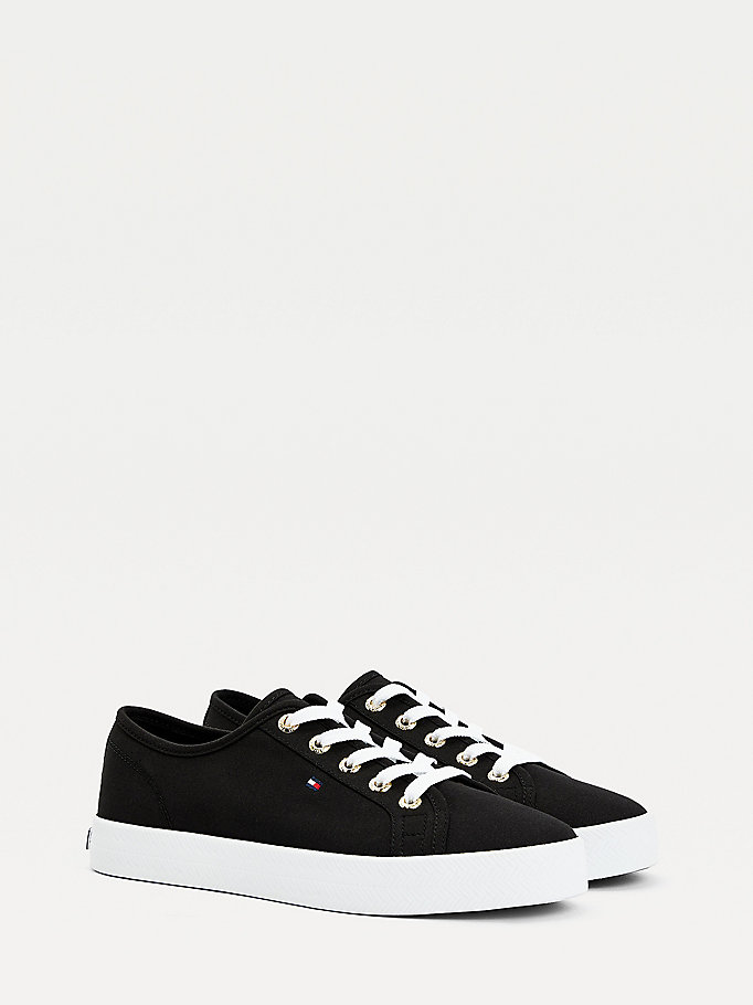 black essential nautical trainers for women tommy hilfiger