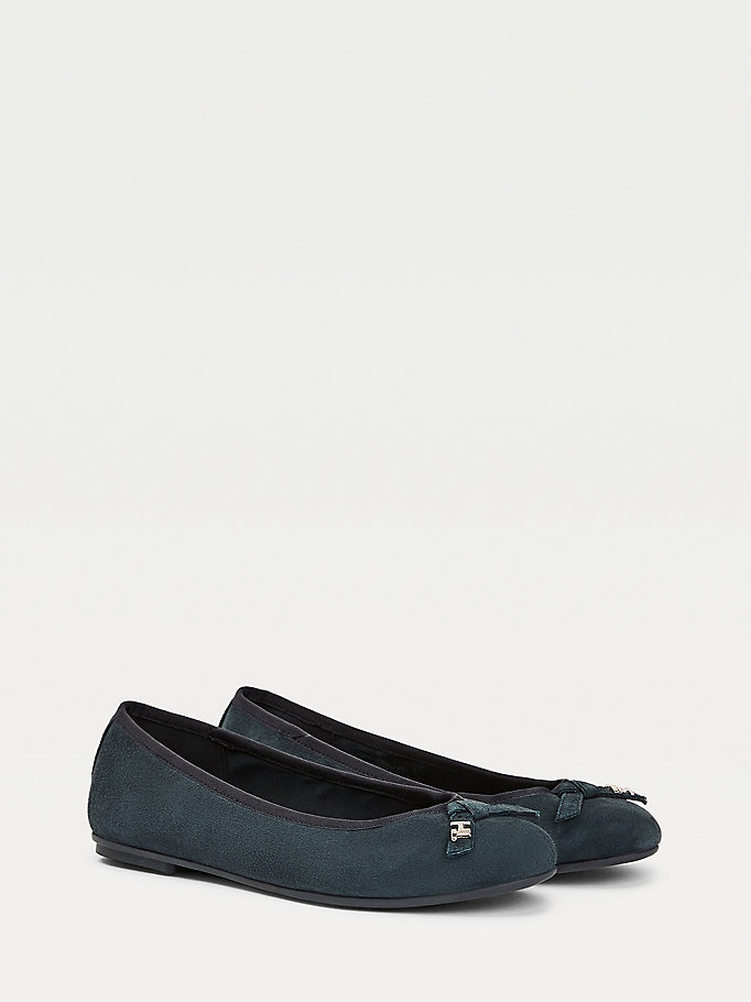blue suede monogram plaque ballerina pumps for women tommy hilfiger
