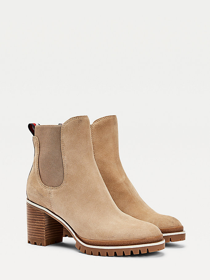 beige classics rugged heeled boots for women tommy hilfiger