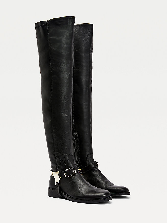 black th modern over-the-knee riding boots for women tommy hilfiger