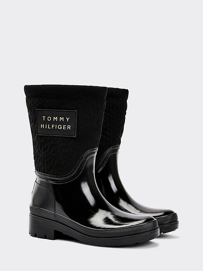 black warm lined monogram rain boots for women tommy hilfiger