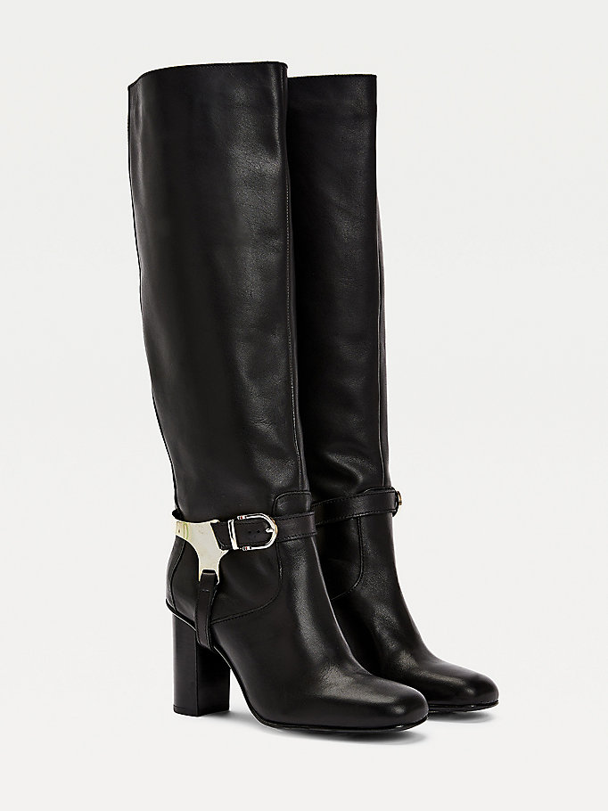 black th modern leather riding boots for women tommy hilfiger